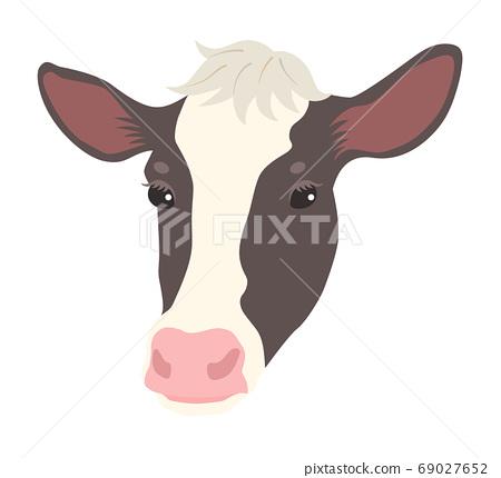 新年2021牛年牛臉插畫素材 69027652