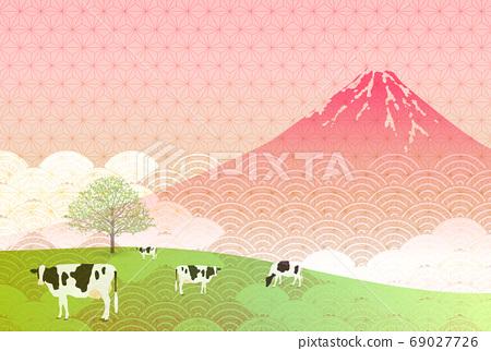 日本新年卡生肖背景 69027726