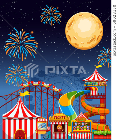 Amusement park scene at night with firework and 69028130