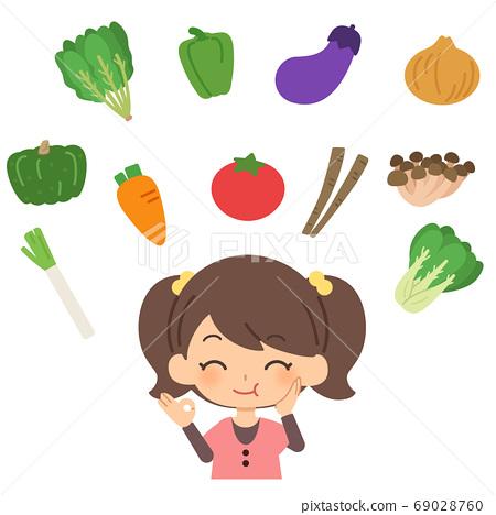 美味地吃蔬菜的女孩 69028760