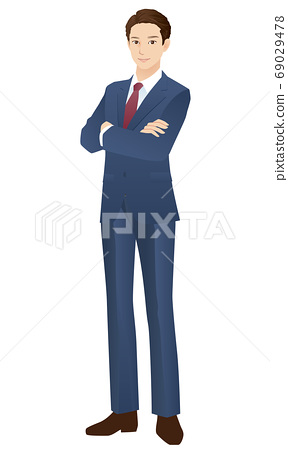 Young men arms crossed businessman 69029478