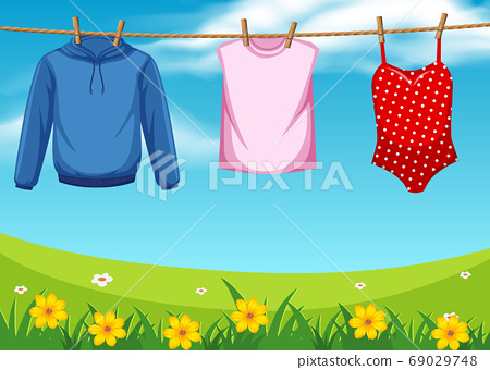 Cloth hanging on the rope outdoor 69029748