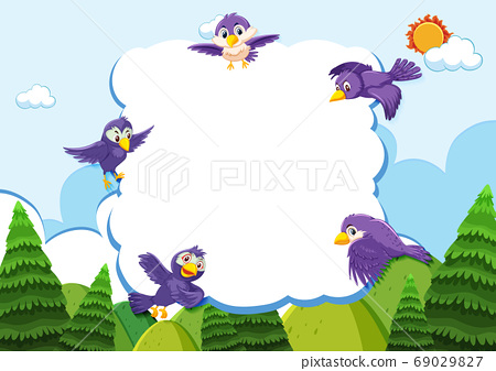 Happy bird in nature background blank banner 69029827