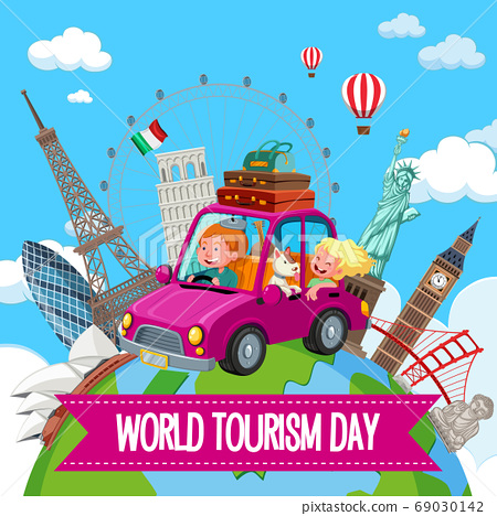 World tourism day logo with couple tourist and 69030142