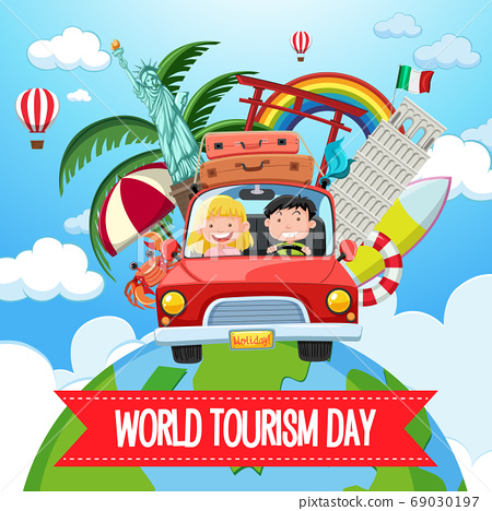 World tourism day logo with couple tourist and 69030197
