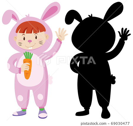 Kid wearing rabbit costume with its silhouette 69030477