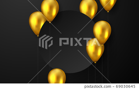 Celebration party banner with Gold balloons Sale Vector Grand Opening Card luxury greeting rich. 69030645