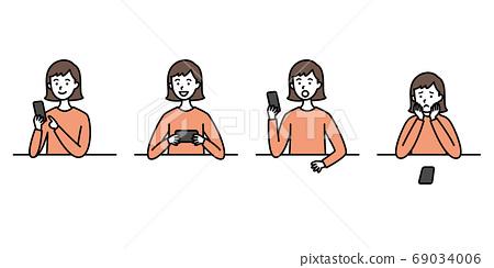 少女和智能手機 69034006