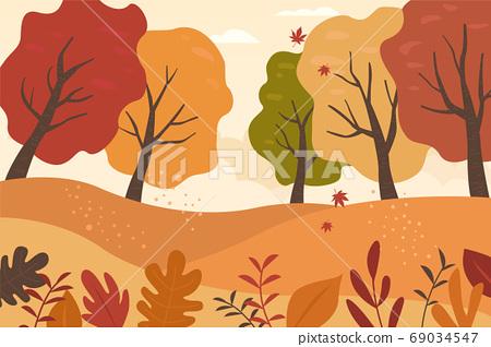 Autumn mountain vector illustration 69034547