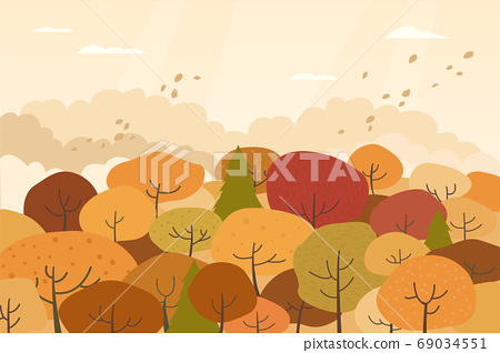 가을 산 벡터 일러스트 69034551