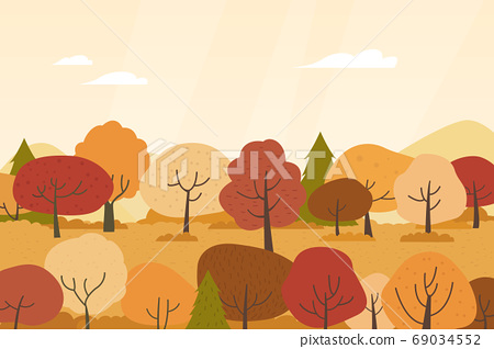 Autumn landscape vector illustration 69034552