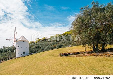 Greek windmill at Shodoshima island Olive park in Kagawa, Japan 69034702