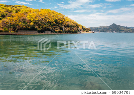 Emerald seascape with mountain in Shodoshima, kagawa, Japan 69034705