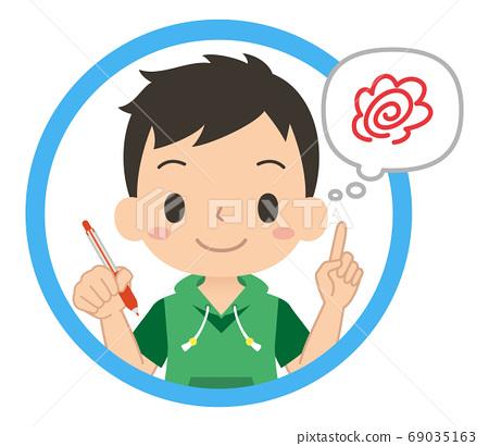 웃는 얼굴로 빨간 펜을 가지고 답 맞추기를하는 남자의 아이콘 어린이 일러스트 69035163