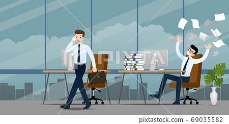 Businessman in different emotion. Two businessmen have contrast situation of work one can finished and going back home but the other one is very confused and busy. Illustration vector design. 69035582