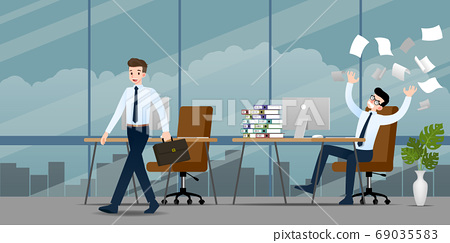 Businessman in different emotion. Two businessmen have contrast situation of work one can finished and going back home but the other one is very confused and busy. Illustration vector design. 69035583