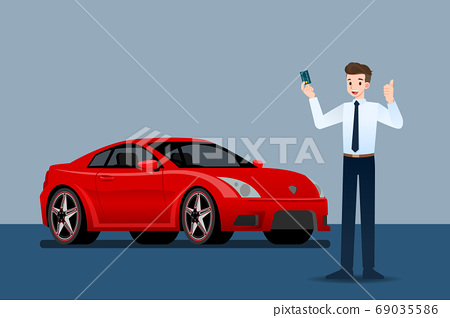 Happy businessman, seller stand and holding credit card in front of luxury car that parking in large showroom. 69035586