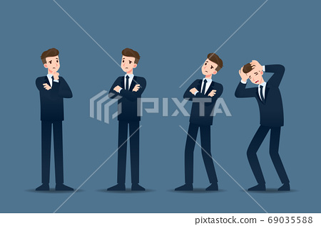 Set of businessman in 4 different gestures. People in business character poses like thinking, concern. Vector illustration design. 69035588