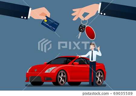 The car dealer's make an exchange, sale, rent between a car and the customer's credit card. Vector illustration design. 69035589