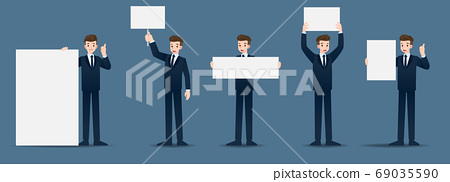 Set of businessman in 5 different gestures. People in business character poses many actions. Vector illustration design. 69035590