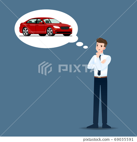 Businessmen think and hope seriously about buying expensive luxury cars. 69035591