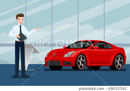 A happy businessman, salesman is standing and present  his luxury car that parked in the show room.Vector illustration design. 69035592