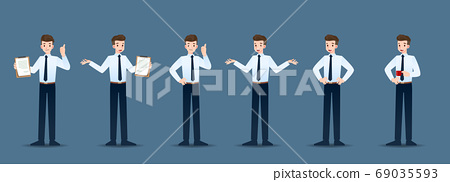 Set of businessman in 6 different gestures. People in business character poses like waiting, communicate and successful. Vector illustration design. 69035593