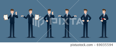 Set of businessman in 6 different gestures. People in business character poses like waiting, communicate and successful. Vector illustration design. 69035594