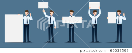Set of businessman in 5 different gestures. People in business character poses many actions. Vector illustration design. 69035595