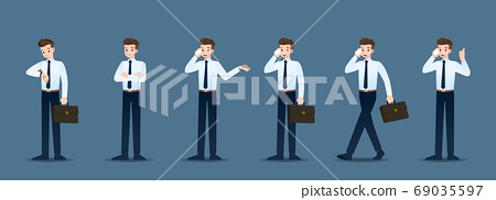 Set of businessman in 6 different gestures. People in business character poses like waiting, communicate and successful. Vector illustration design. 69035597