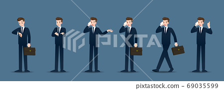 Set of businessman in 6 different gestures. People in business character poses like waiting, communicate and successful. Vector illustration design. 69035599