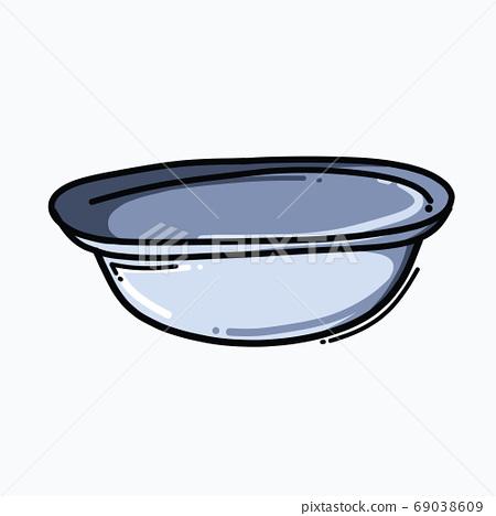 Bucket doodle color vector icon. Drawing sketch illustration han 69038609