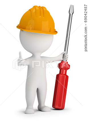 3d small people - repairman with a large screwdriver 69042487