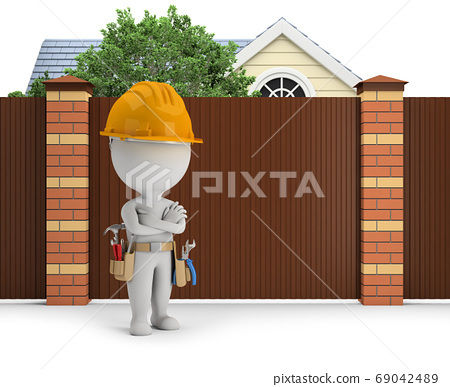 3d small people - repairer at the fence 69042489