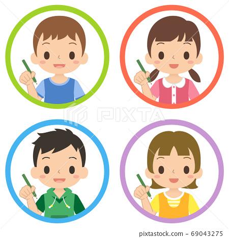 웃는 얼굴로 연필을 가진 소녀와 소년의 아이콘 세트 어린이 일러스트 69043275