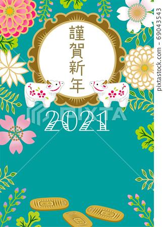 2021牛年新年賀卡牛肉公仔橢圓形日本花卉圖案 69043543