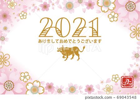 2021牛年新年賀卡牛和櫻花框架 69043548