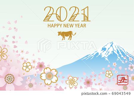 2021 년 소띠 연하장 - 소 아이콘 후지 벚꽃 눈보라 69043549