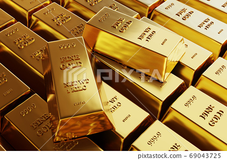 Close up view of Gold bars or ingots in bank vault background. Precious metal. 3D illustration  69043725