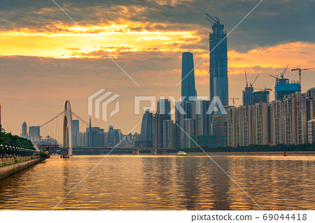 Guangzhou, China skyline on the Pearl River 69044418