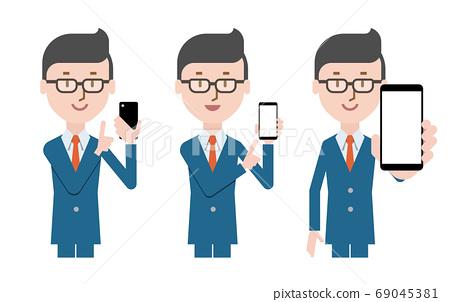 操作智能手機,人圖標的商人 69045381