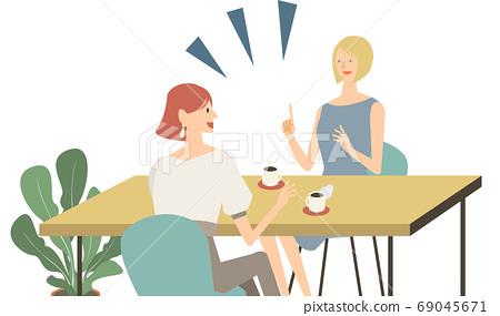 카페에서 외국인 여성 영어 회화를하고있는 여성의 벡터 일러스트 69045671