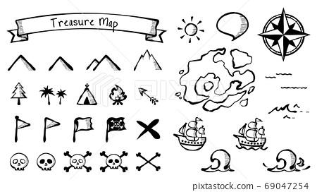 手繪風格復古圖標,用於藏寶圖_插圖_材料集 69047254