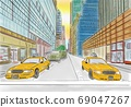 street view of New York, yellow taxi, sketch illustration 69047267