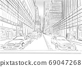 street view of New York, yellow taxi, sketch illustration 69047268