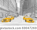 street view of New York, yellow taxi, sketch illustration 69047269