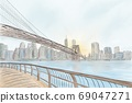 Manhattan Bridge Illustration, New York concept, sketch 69047271