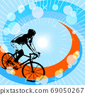vector illustration of a silhouette of cyclist on sunny background. EPS10 69050267