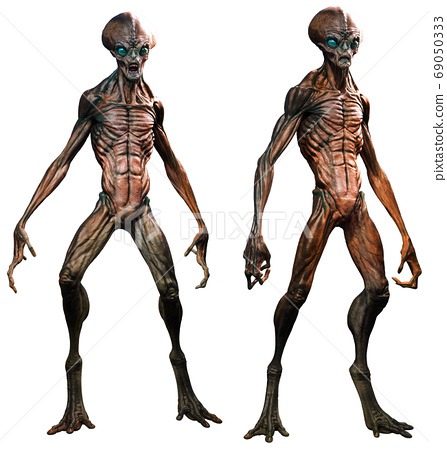 Aliens in standing poses 3D illustration 69050333