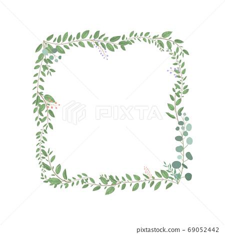 잎 식물 신록 녹색 사각형 프레임 69052442